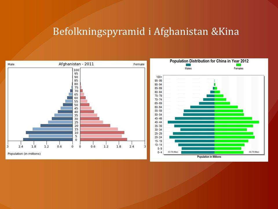 Befolkningspyramid i Afghanistan &Kina