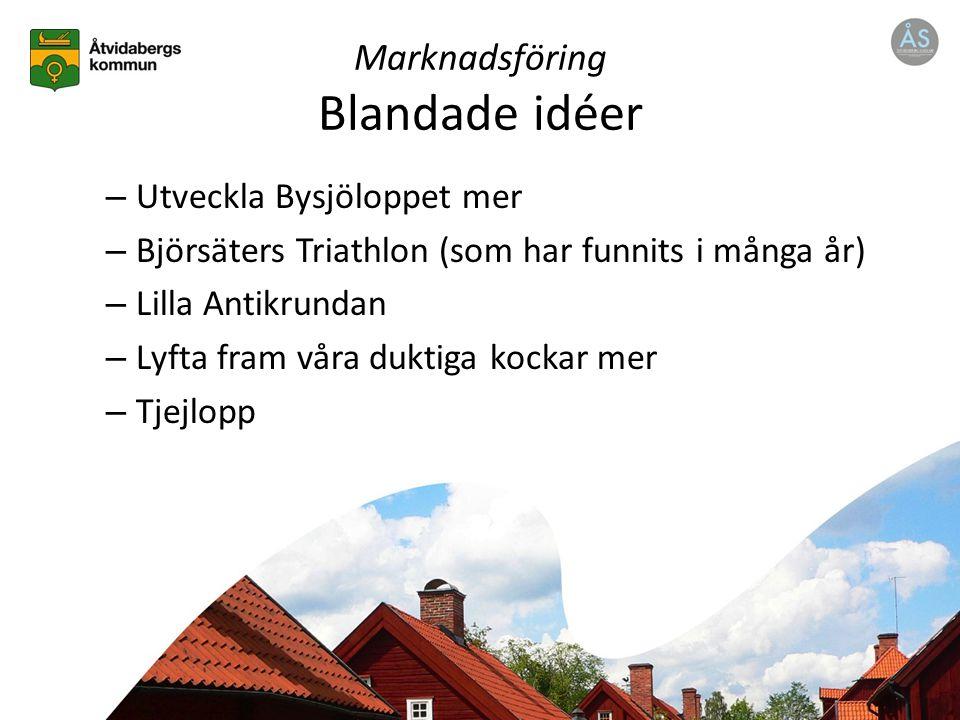 Marknadsföring Blandade idéer – Utveckla Bysjöloppet mer – Björsäters Triathlon (som har funnits i många år) – Lilla Antikrundan – Lyfta fram våra duktiga kockar mer – Tjejlopp