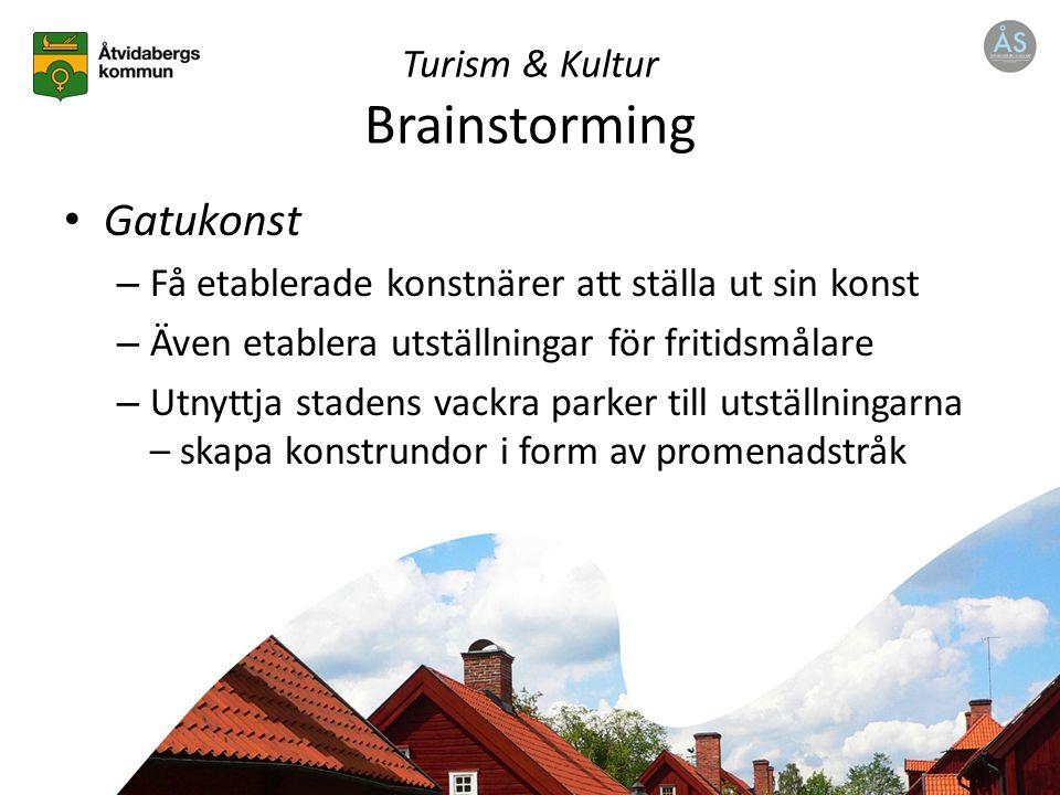 Turism & Kultur Brainstorming Gatukonst – Få etablerade konstnärer att ställa ut sin konst – Även etablera utställningar för fritidsmålare – Utnyttja