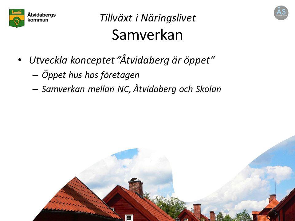 Tillväxt i Näringslivet Samverkan Utveckla konceptet Åtvidaberg är öppet – Öppet hus hos företagen – Samverkan mellan NC, Åtvidaberg och Skolan