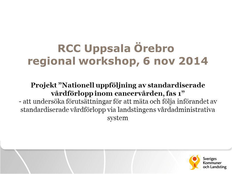 RCC Uppsala Örebro regional workshop, 6 nov 2014 Projekt Nationell uppföljning av standardiserade vårdförlopp inom cancervården, fas 1 - att undersöka förutsättningar för att mäta och följa införandet av standardiserade vårdförlopp via landstingens vårdadministrativa system