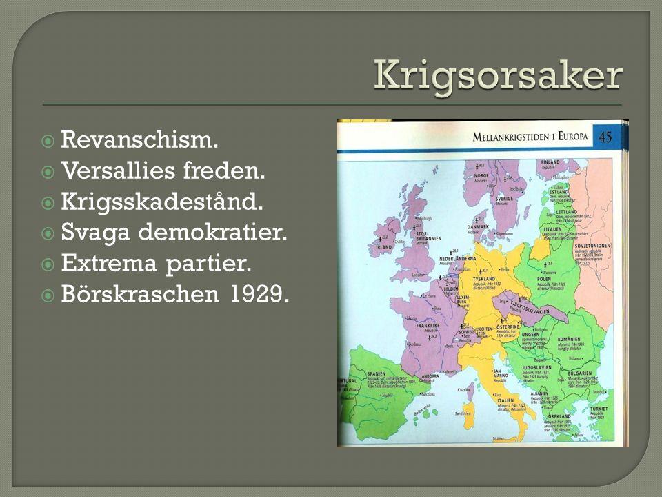 Revanschism.  Versallies freden.  Krigsskadestånd.  Svaga demokratier.  Extrema partier.  Börskraschen 1929.