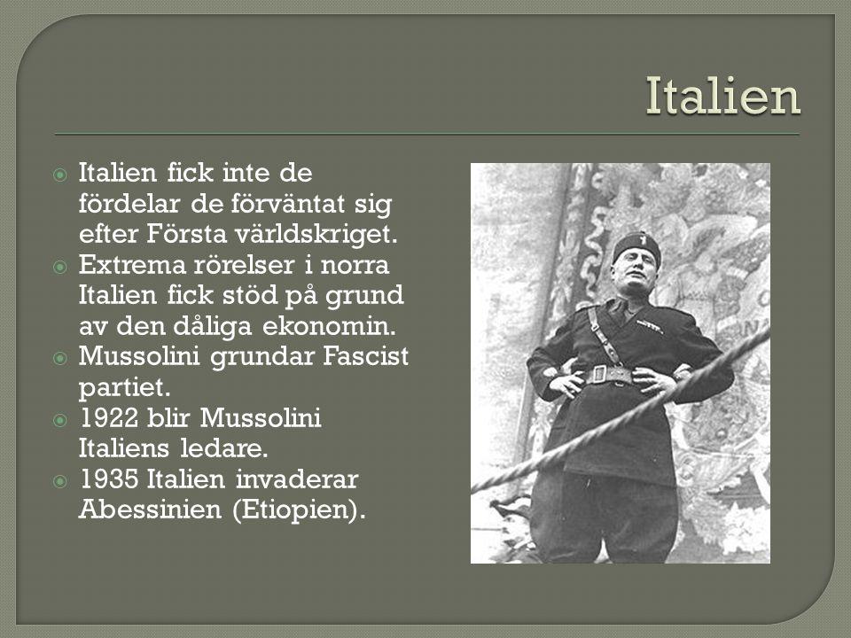  Italien fick inte de fördelar de förväntat sig efter Första världskriget.  Extrema rörelser i norra Italien fick stöd på grund av den dåliga ekonom