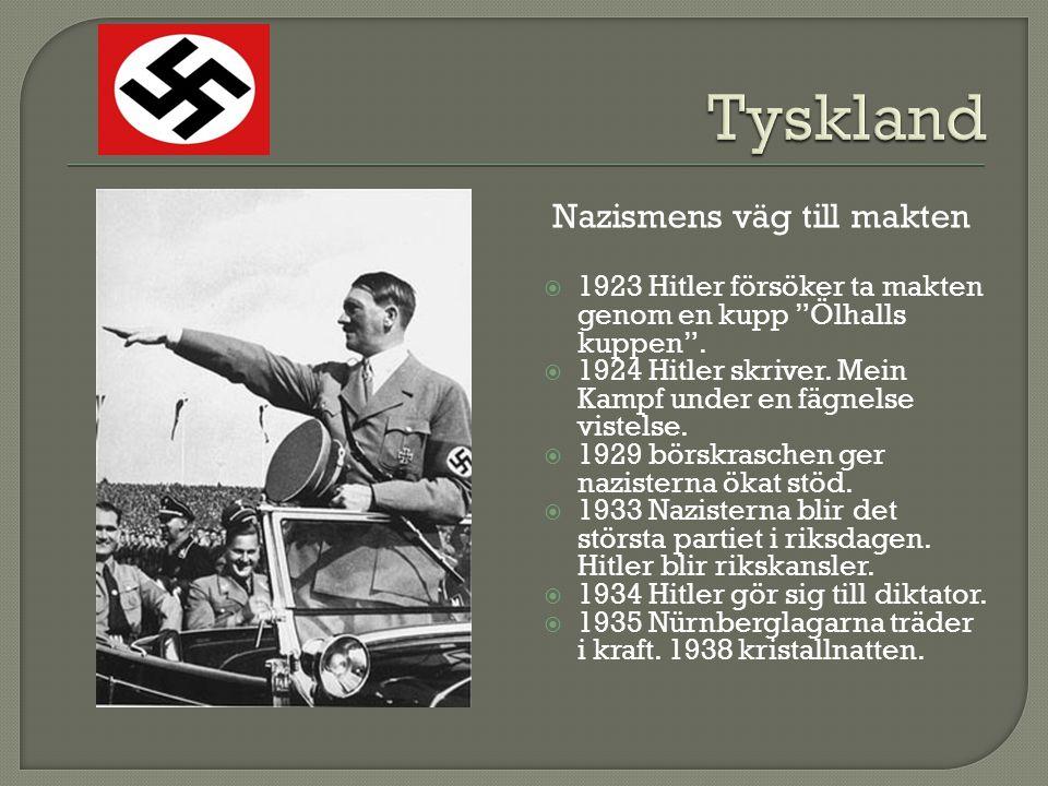 """ 1923 Hitler försöker ta makten genom en kupp """"Ölhalls kuppen"""".  1924 Hitler skriver. Mein Kampf under en fägnelse vistelse.  1929 börskraschen ger"""