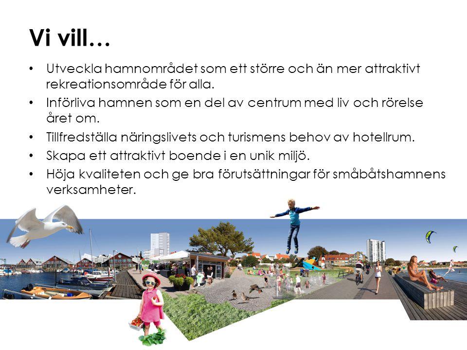 Vi vill… Utveckla hamnområdet som ett större och än mer attraktivt rekreationsområde för alla.