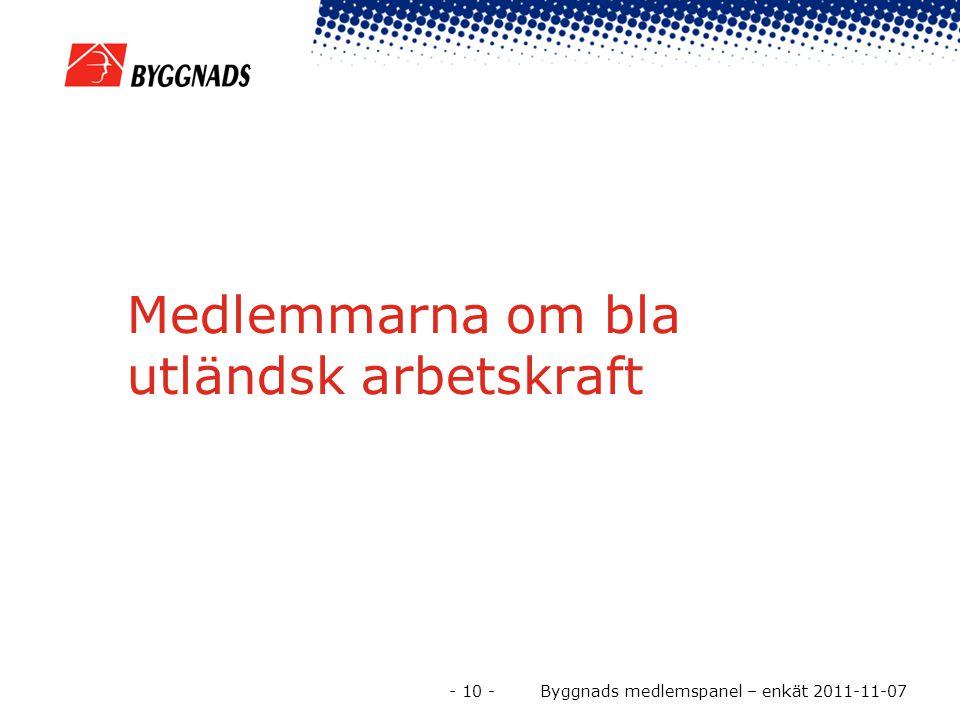 Medlemmarna om bla utländsk arbetskraft - 10 - Byggnads medlemspanel – enkät 2011-11-07