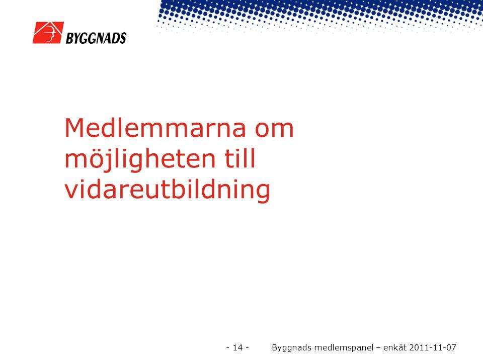 Medlemmarna om möjligheten till vidareutbildning - 14 - Byggnads medlemspanel – enkät 2011-11-07