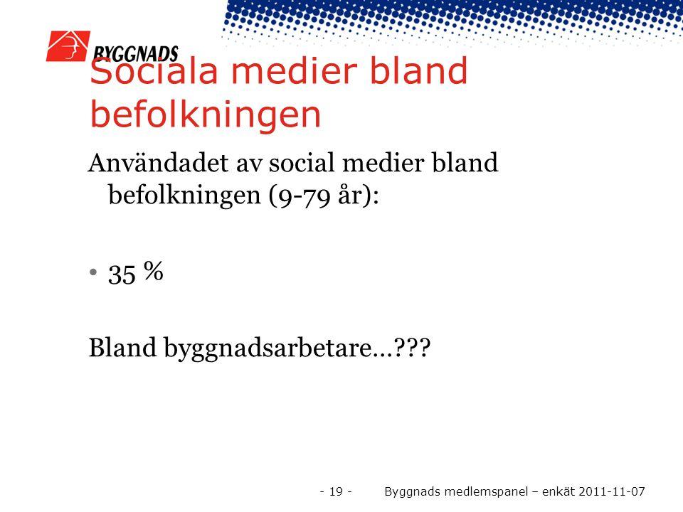 Sociala medier bland befolkningen Användadet av social medier bland befolkningen (9-79 år): 35 % Bland byggnadsarbetare… .