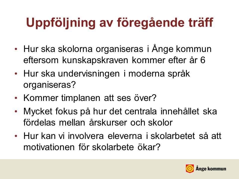 Uppföljning av föregående träff Hur ska skolorna organiseras i Ånge kommun eftersom kunskapskraven kommer efter år 6 Hur ska undervisningen i moderna