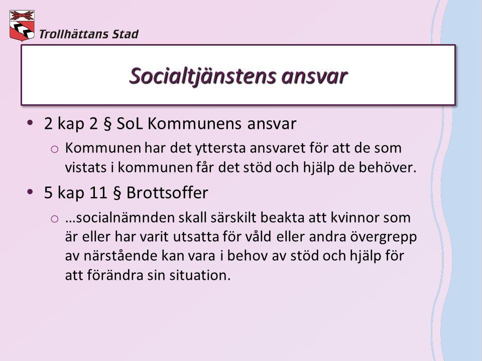 Socialtjänstens ansvar  2 kap 2 § SoL Kommunens ansvar o Kommunen har det yttersta ansvaret för att de som vistats i kommunen får det stöd och hjälp