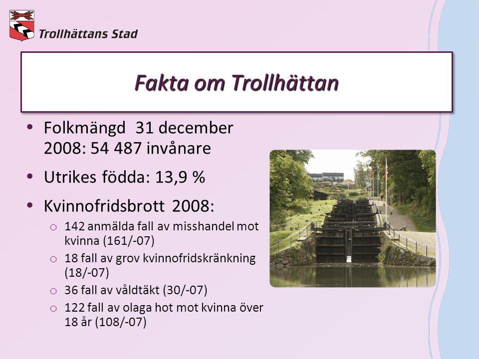 Fakta om Trollhättan  Folkmängd 31 december 2008: 54 487 invånare  Utrikes födda: 13,9 %  Kvinnofridsbrott 2008: o 142 anmälda fall av misshandel m