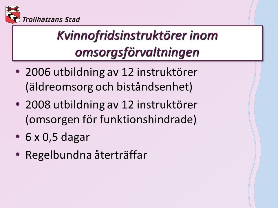 Kvinnofridsinstruktörer inom omsorgsförvaltningen  2006 utbildning av 12 instruktörer (äldreomsorg och biståndsenhet)  2008 utbildning av 12 instruk