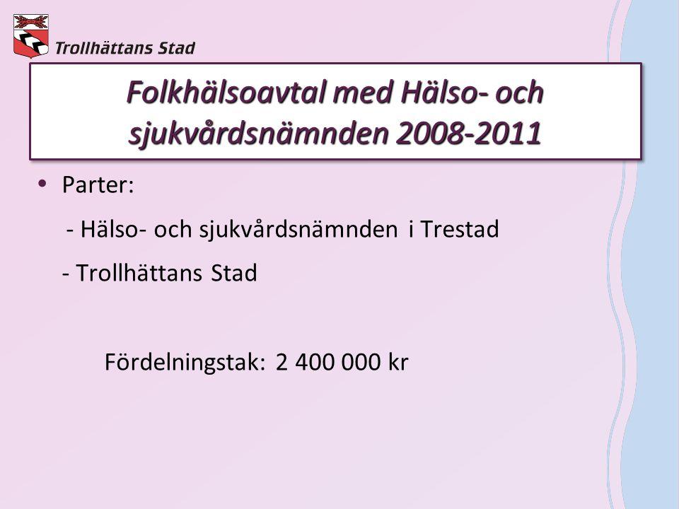 Folkhälsoavtal med Hälso- och sjukvårdsnämnden 2008-2011  Parter: - Hälso- och sjukvårdsnämnden i Trestad - Trollhättans Stad Fördelningstak: 2 400 0