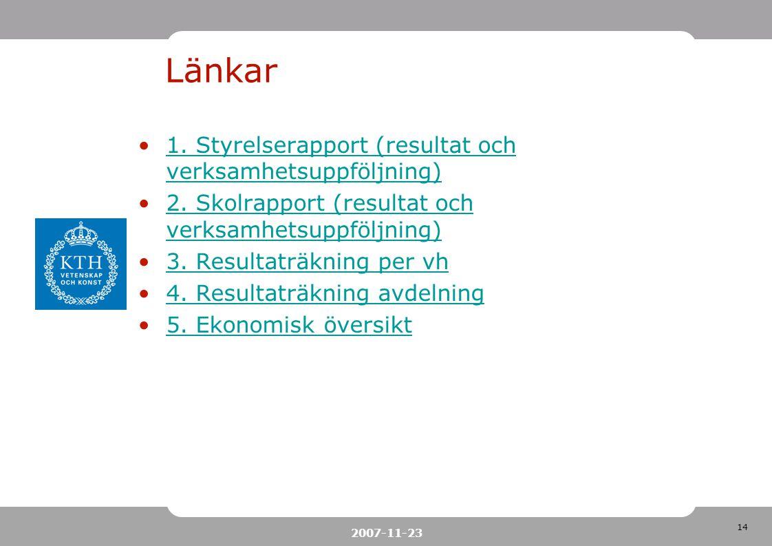14 2007-11-23 Länkar 1. Styrelserapport (resultat och verksamhetsuppföljning)1. Styrelserapport (resultat och verksamhetsuppföljning) 2. Skolrapport (