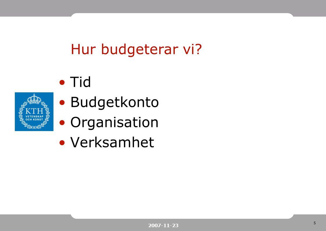 5 2007-11-23 Hur budgeterar vi? Tid Budgetkonto Organisation Verksamhet