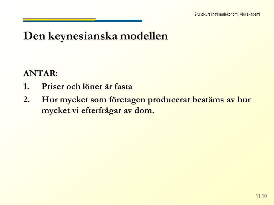 Grundkurs i nationalekonomi, Åbo akademi 11.10 Den keynesianska modellen ANTAR: 1.Priser och löner är fasta 2.Hur mycket som företagen producerar bestäms av hur mycket vi efterfrågar av dom.