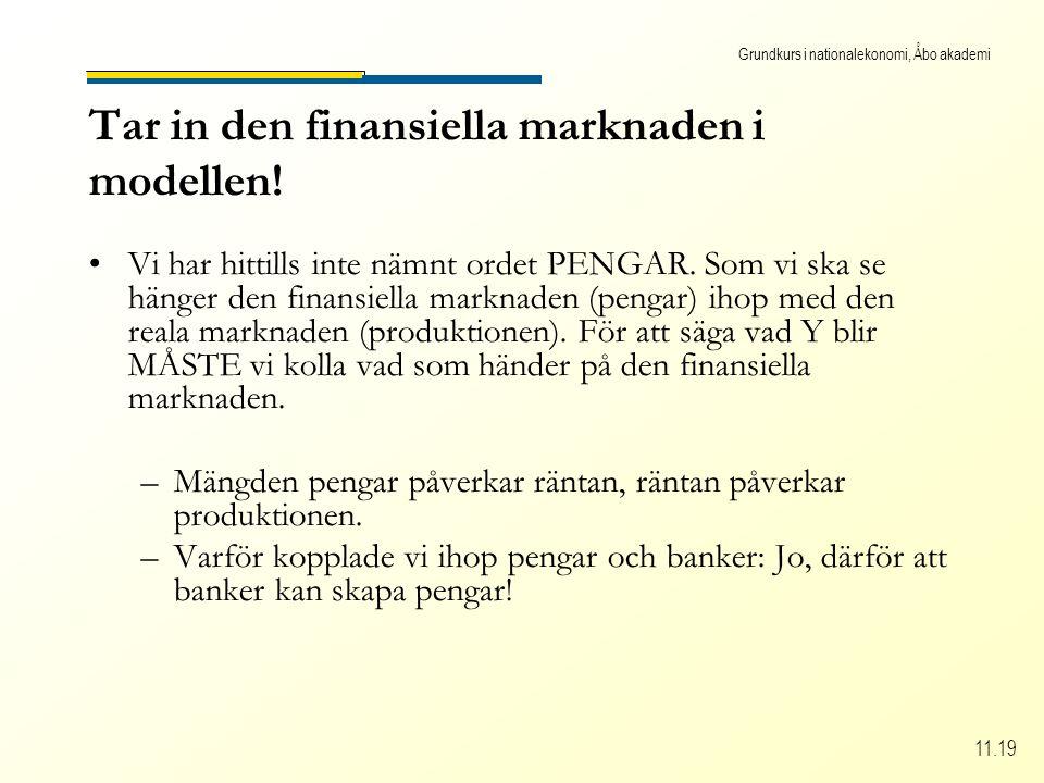Grundkurs i nationalekonomi, Åbo akademi 11.19 Tar in den finansiella marknaden i modellen.