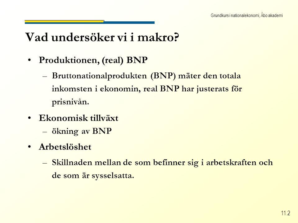 Grundkurs i nationalekonomi, Åbo akademi 11.2 Vad undersöker vi i makro.