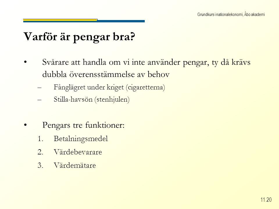 Grundkurs i nationalekonomi, Åbo akademi 11.20 Varför är pengar bra.