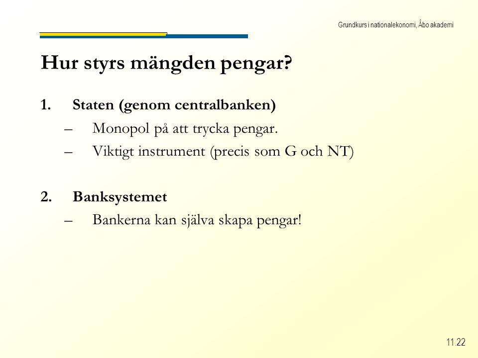 Grundkurs i nationalekonomi, Åbo akademi 11.22 Hur styrs mängden pengar.