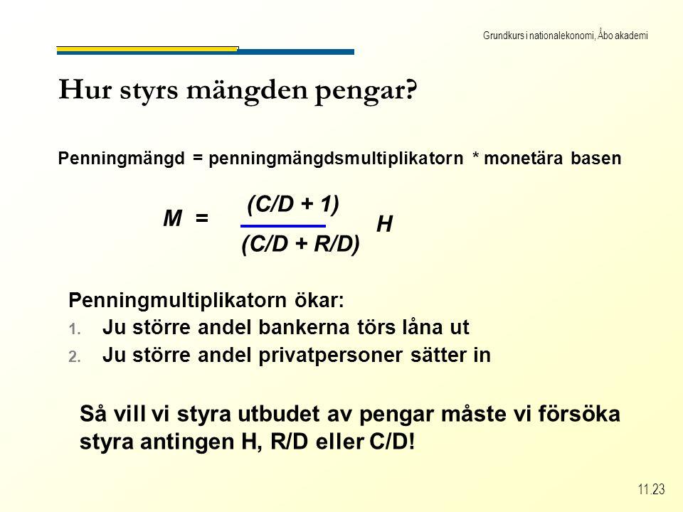 Grundkurs i nationalekonomi, Åbo akademi 11.23 Hur styrs mängden pengar.