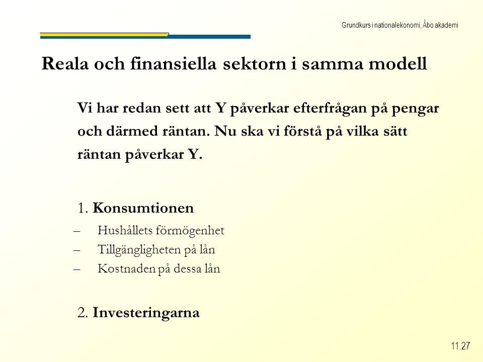 Grundkurs i nationalekonomi, Åbo akademi 11.27 Reala och finansiella sektorn i samma modell Vi har redan sett att Y påverkar efterfrågan på pengar och därmed räntan.