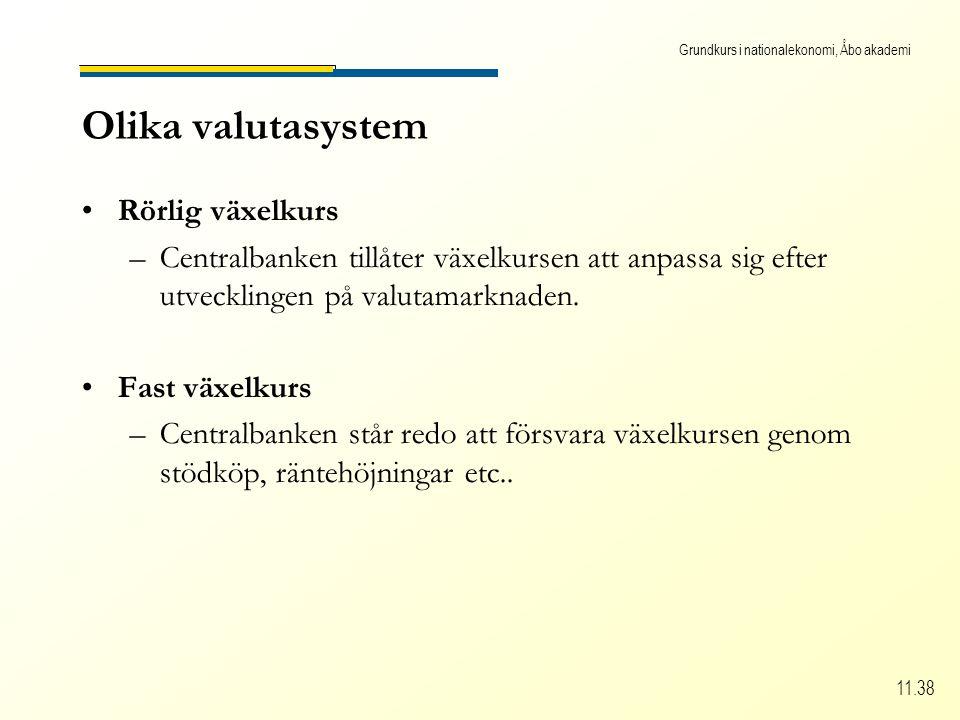 Grundkurs i nationalekonomi, Åbo akademi 11.38 Olika valutasystem Rörlig växelkurs –C–Centralbanken tillåter växelkursen att anpassa sig efter utvecklingen på valutamarknaden.
