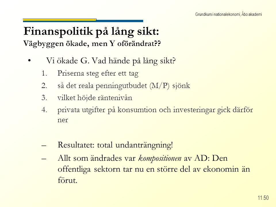 Grundkurs i nationalekonomi, Åbo akademi 11.50 Finanspolitik på lång sikt: Vägbyggen ökade, men Y oförändrat .