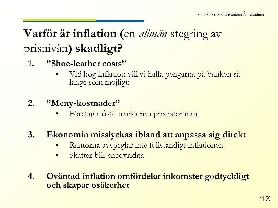 Grundkurs i nationalekonomi, Åbo akademi 11.59 Varför är inflation (en allmän stegring av prisnivån) skadligt.