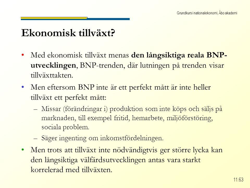 Grundkurs i nationalekonomi, Åbo akademi 11.63 Ekonomisk tillväxt.