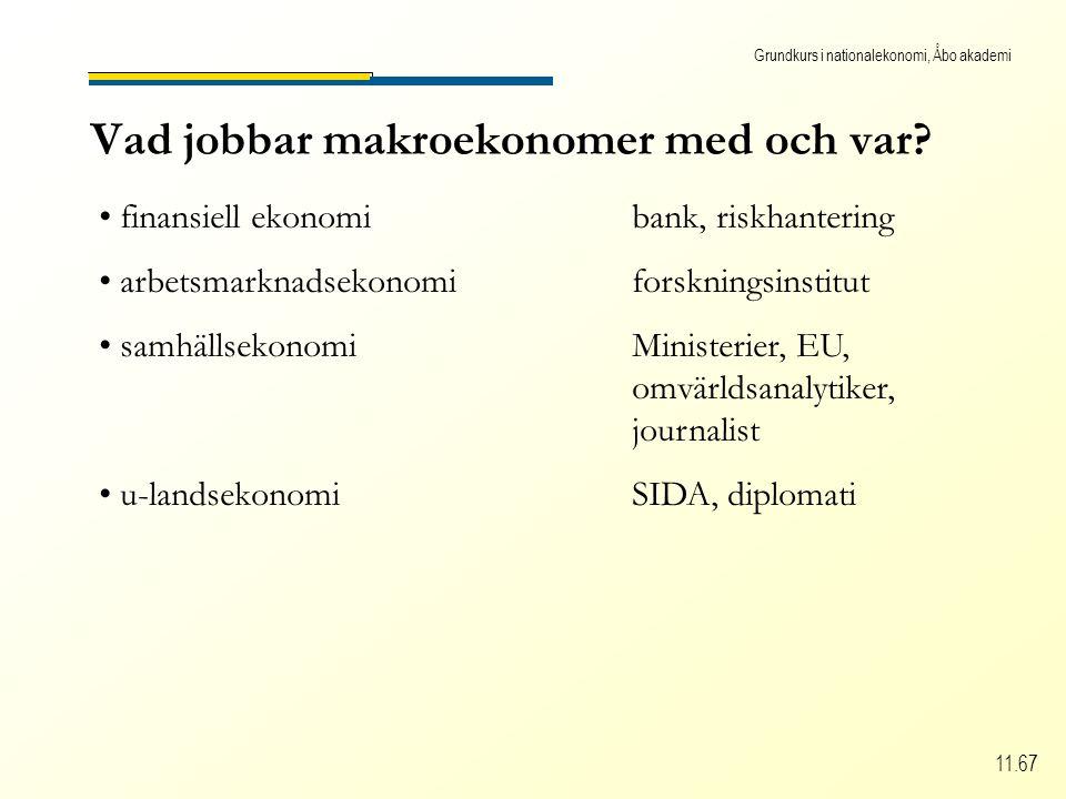 Grundkurs i nationalekonomi, Åbo akademi 11.67 Vad jobbar makroekonomer med och var.