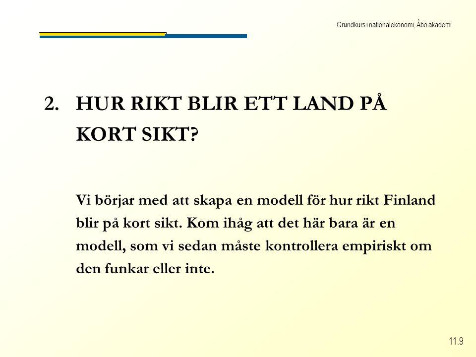 Grundkurs i nationalekonomi, Åbo akademi 11.9 2. HUR RIKT BLIR ETT LAND PÅ KORT SIKT.