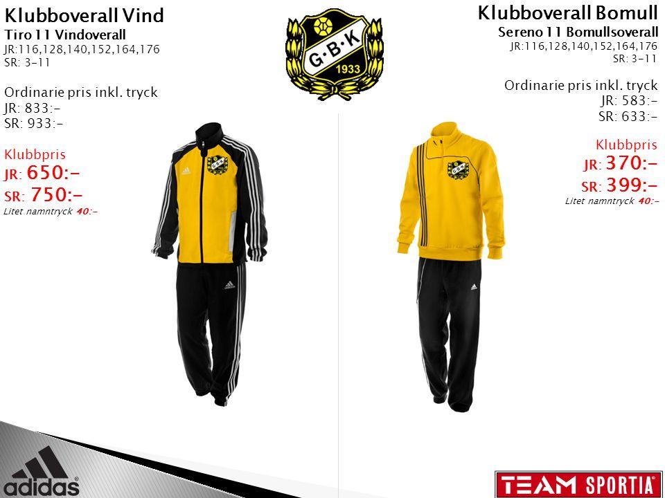 Klubboverall Vind Tiro 11 Vindoverall JR:116,128,140,152,164,176 SR: 3-11 Ordinarie pris inkl.