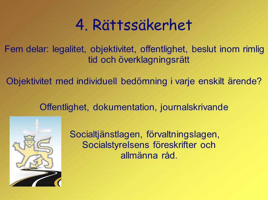 4. Rättssäkerhet Fem delar: legalitet, objektivitet, offentlighet, beslut inom rimlig tid och överklagningsrätt Objektivitet med individuell bedömning
