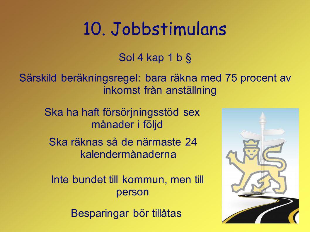 10. Jobbstimulans Sol 4 kap 1 b § Ska ha haft försörjningsstöd sex månader i följd Ska räknas så de närmaste 24 kalendermånaderna Inte bundet till kom