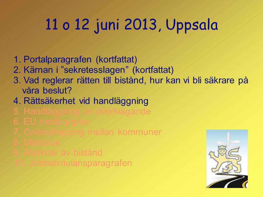 """11 o 12 juni 2013, Uppsala 1. Portalparagrafen (kortfattat) 2. Kärnan i """"sekretesslagen"""" (kortfattat) 3. Vad reglerar rätten till bistånd, hur kan vi"""