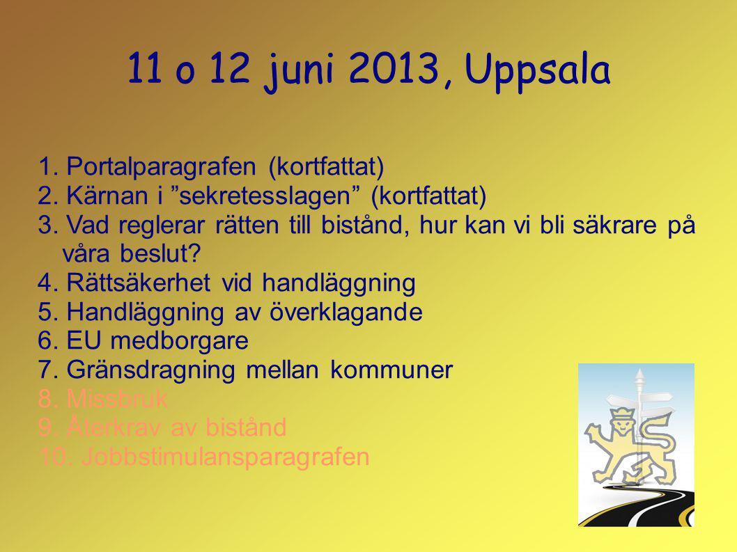 11 o 12 juni 2013, Uppsala 1.Portalparagrafen (kortfattat) 2.