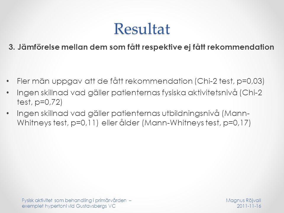 Resultat 3. Jämförelse mellan dem som fått respektive ej fått rekommendation Fler män uppgav att de fått rekommendation (Chi-2 test, p=0,03) Ingen ski
