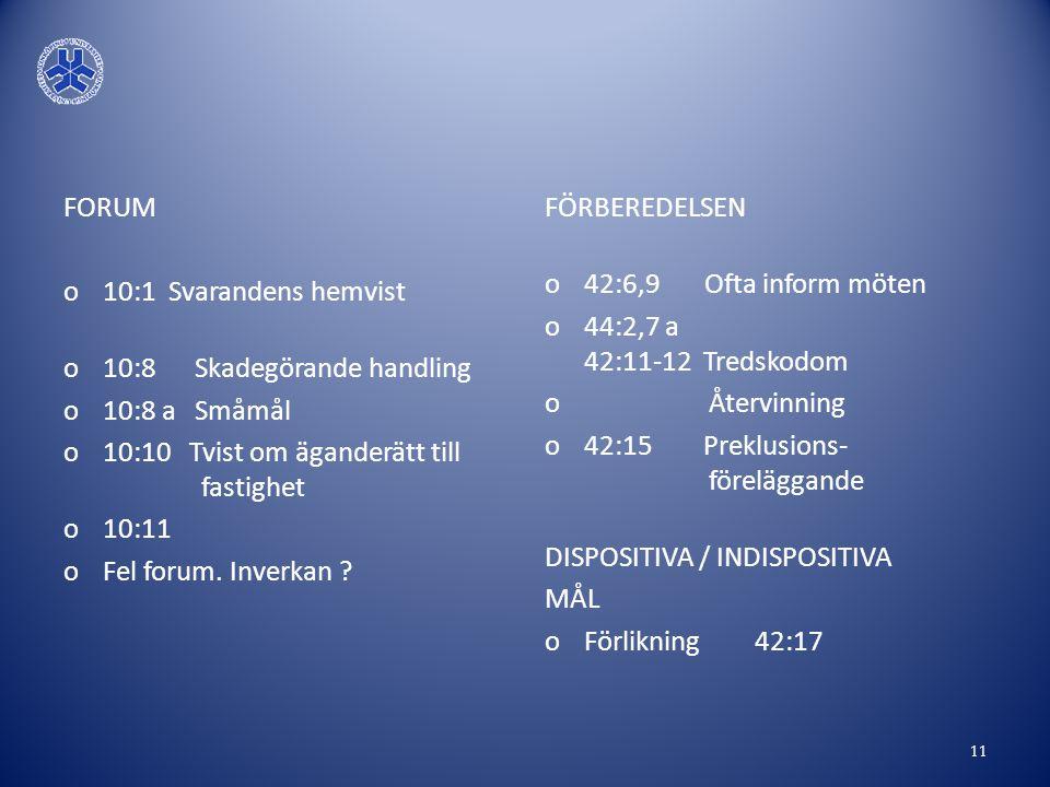 FORUM o10:1 Svarandens hemvist o10:8 Skadegörande handling o10:8 a Småmål o10:10 Tvist om äganderätt till fastighet o10:11 oFel forum. Inverkan ? FÖRB