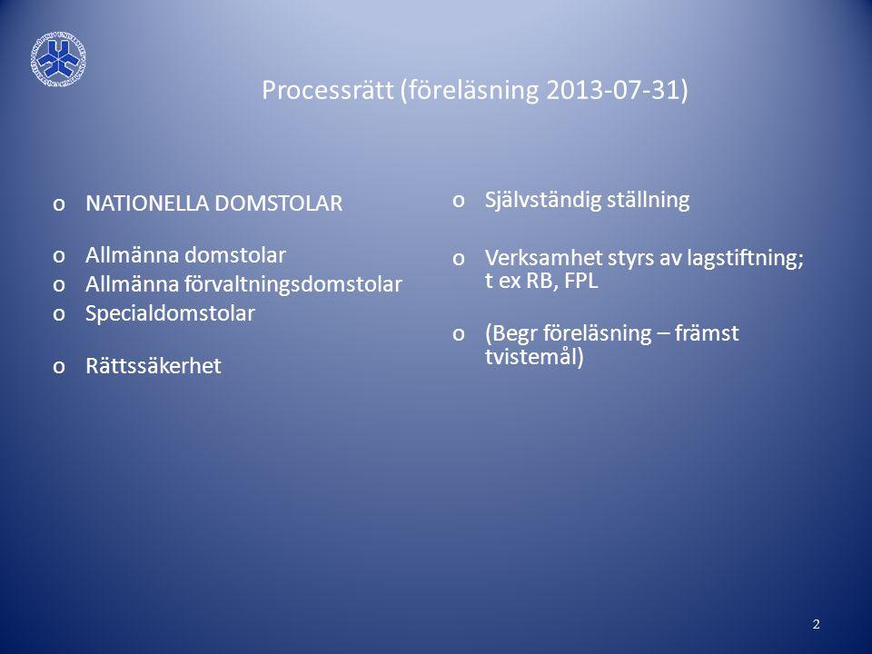 Processrätt (föreläsning 2013-07-31) oNATIONELLA DOMSTOLAR oAllmänna domstolar oAllmänna förvaltningsdomstolar oSpecialdomstolar oRättssäkerhet oSjälv