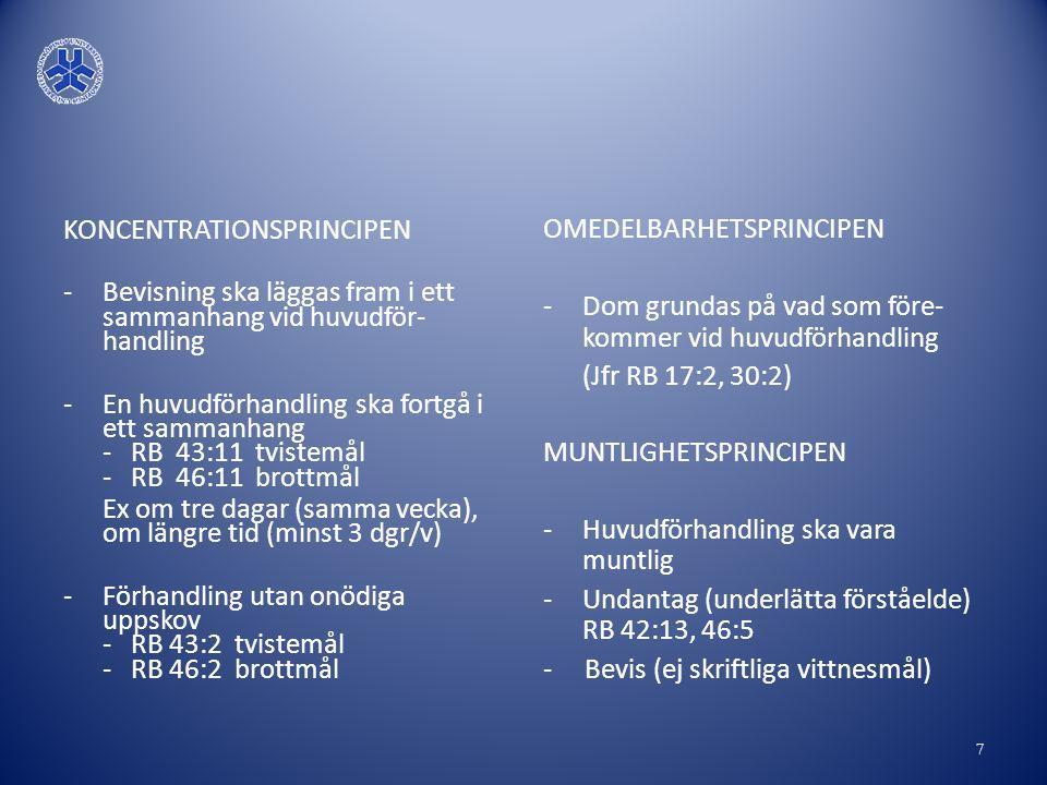 KONCENTRATIONSPRINCIPEN -Bevisning ska läggas fram i ett sammanhang vid huvudför- handling -En huvudförhandling ska fortgå i ett sammanhang - RB 43:11