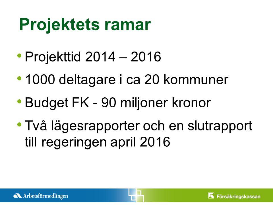 Pre2012-11-12ntationstitel Månad 200X Sida 5 Projekttid 2014 – 2016 1000 deltagare i ca 20 kommuner Budget FK - 90 miljoner kronor Två lägesrapporter