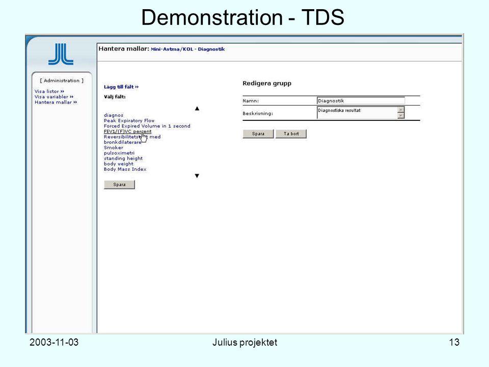 2003-11-03Julius projektet13 Demonstration - TDS