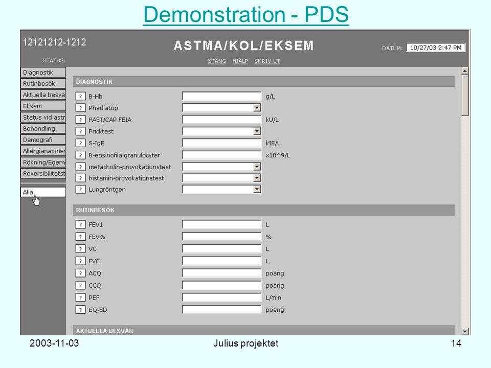 2003-11-03Julius projektet14 Demonstration - PDS