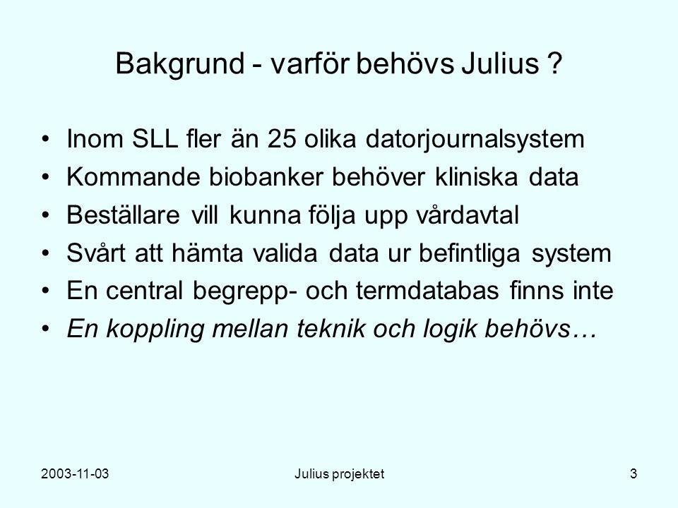 2003-11-03Julius projektet3 Bakgrund - varför behövs Julius .