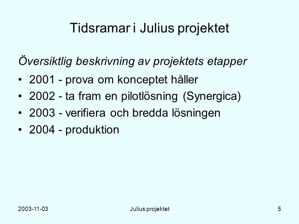 2003-11-03Julius projektet5 Tidsramar i Julius projektet Översiktlig beskrivning av projektets etapper 2001 - prova om konceptet håller 2002 - ta fram en pilotlösning (Synergica) 2003 - verifiera och bredda lösningen 2004 - produktion