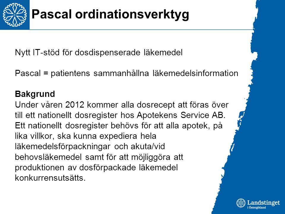 Nytt IT-stöd för dosdispenserade läkemedel Pascal = patientens sammanhållna läkemedelsinformation Bakgrund Under våren 2012 kommer alla dosrecept att föras över till ett nationellt dosregister hos Apotekens Service AB.