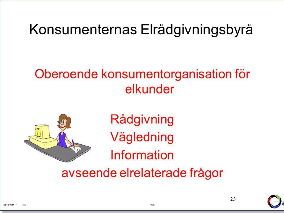 23 01/11/2011Fera 01/11/2011 /FeraOH- 23 Konsumenternas Elrådgivningsbyrå Oberoende konsumentorganisation för elkunder Rådgivning Vägledning Information avseende elrelaterade frågor