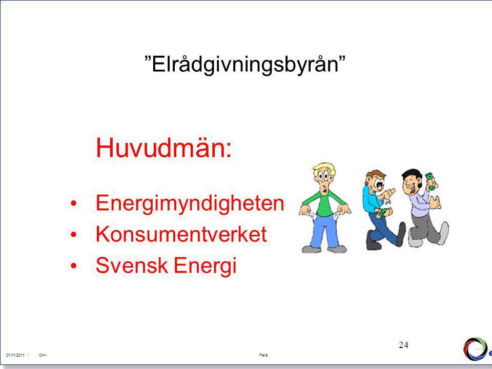 24 01/11/2011Fera 01/11/2011 /FeraOH- 24 Elrådgivningsbyrån Huvudmän: Energimyndigheten Konsumentverket Svensk Energi