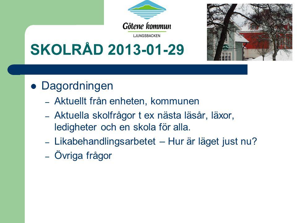 SKOLRÅD 2013-01-29 Dagordningen – Aktuellt från enheten, kommunen – Aktuella skolfrågor t ex nästa läsår, läxor, ledigheter och en skola för alla. – L